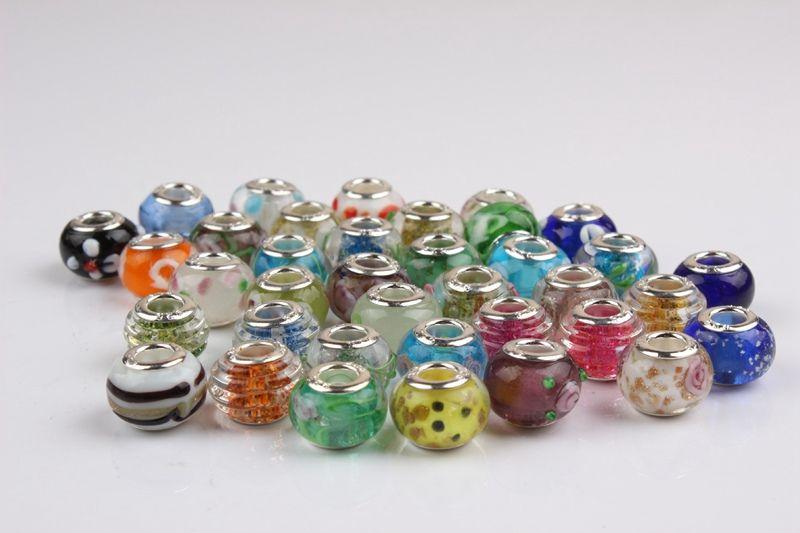 Hot Sale Silver Flower Murano Glass Beads Big Hole Chamilia Beads Fit Bracelet Bangles Charms Original European DIY Jewelry