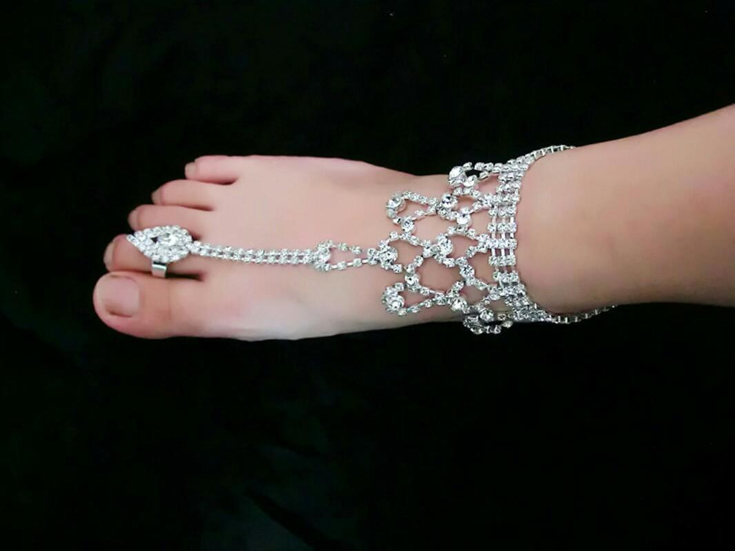 Trendy Düğün Bayan Ayak Bileği Bilezikler Rhinestone Gümüş Barefoot Sandalet Ayak Halka Ayak Bileği Zincirleri Ayak Zincirleri Gelin Barefoot Sandalet