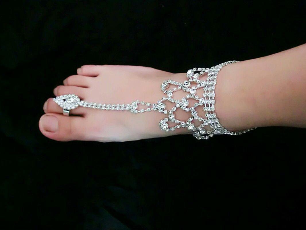 2020 Trendy Wedding Womens Ankle Bracelets Rhinestone