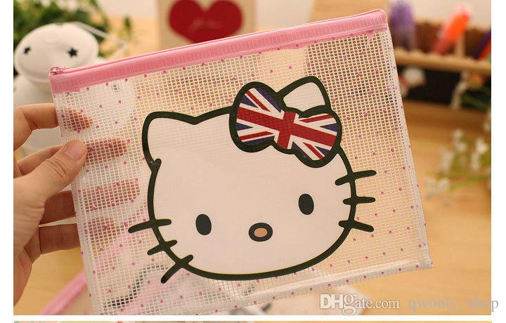 Cartoon Kitty Cat Clear PVC File Bag Pencil Case File Folder Documents Filling Bag Office School Suppllies Stationery Bag