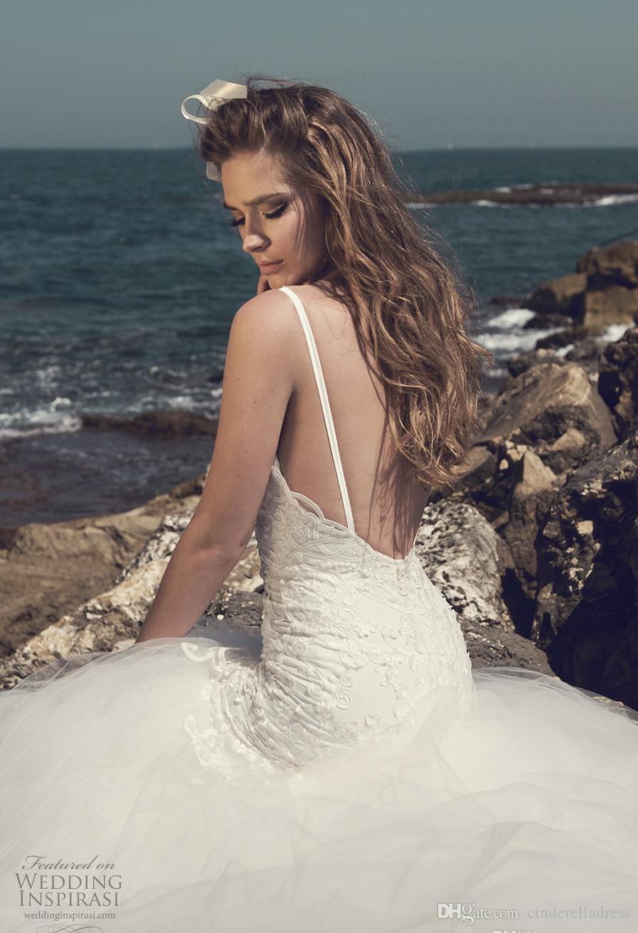 2020 Spaghetti abiti eleganti Julie Vino da sposa in pizzo cinghie Backless di Tulle sexy Nuovo nuziale Gowns Wedding Party BA3983