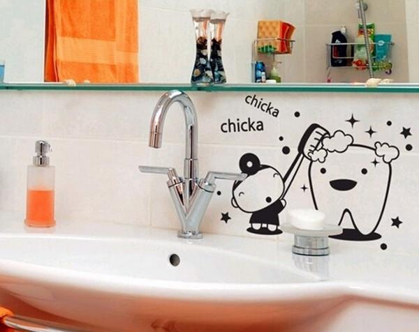 Diamond Embroidery Diy Vinyl Wall Art Mural Bath Giving Bathroom Teeth Wc  Waterproof Stickers For Creative Funny Joke Diy Stickers Decor Stickers For  ...