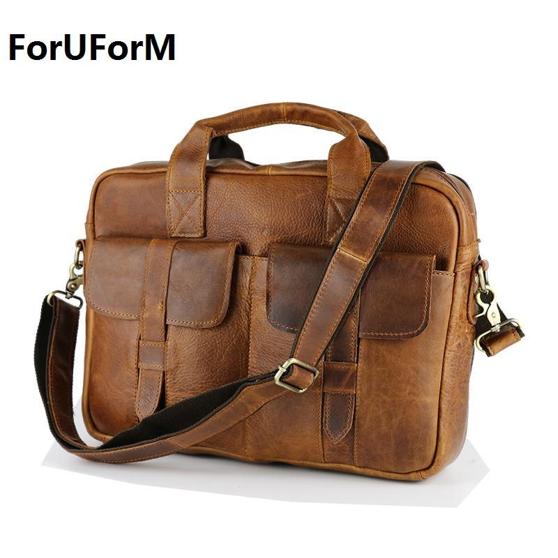 00c284fe392f Wholesale Wholesale Fashion Vintage Crazy Horse Leather Handbags Men  Messenger Bags Genuine Leather Shoulder Bags Laptop Briefcase LI 895 Bags  For Men ...