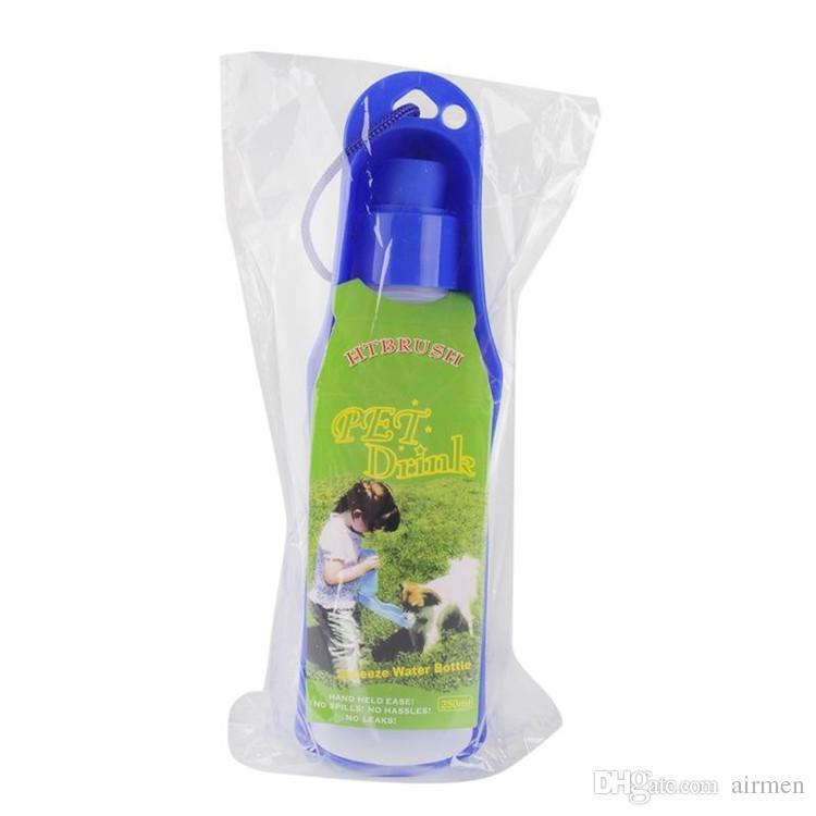 Portable Pet Cat Dog Feeding Bottle Water Drinking Outdoor Travelling Muticolor 250ML Bottle Water Plastic Foldable Pet