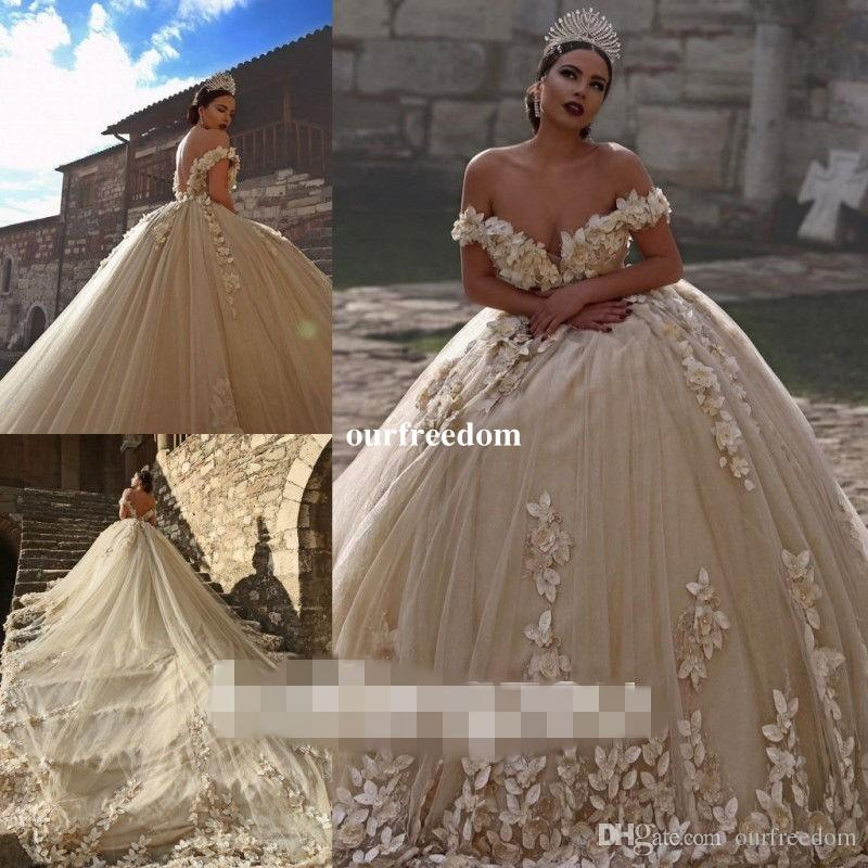 Dubai Style Ball Gown Wedding Dresses 2019 Off The Shoulder Cathedral Train 3D Flora Applique For Church Wedding Party Dresses Bridal Gowns