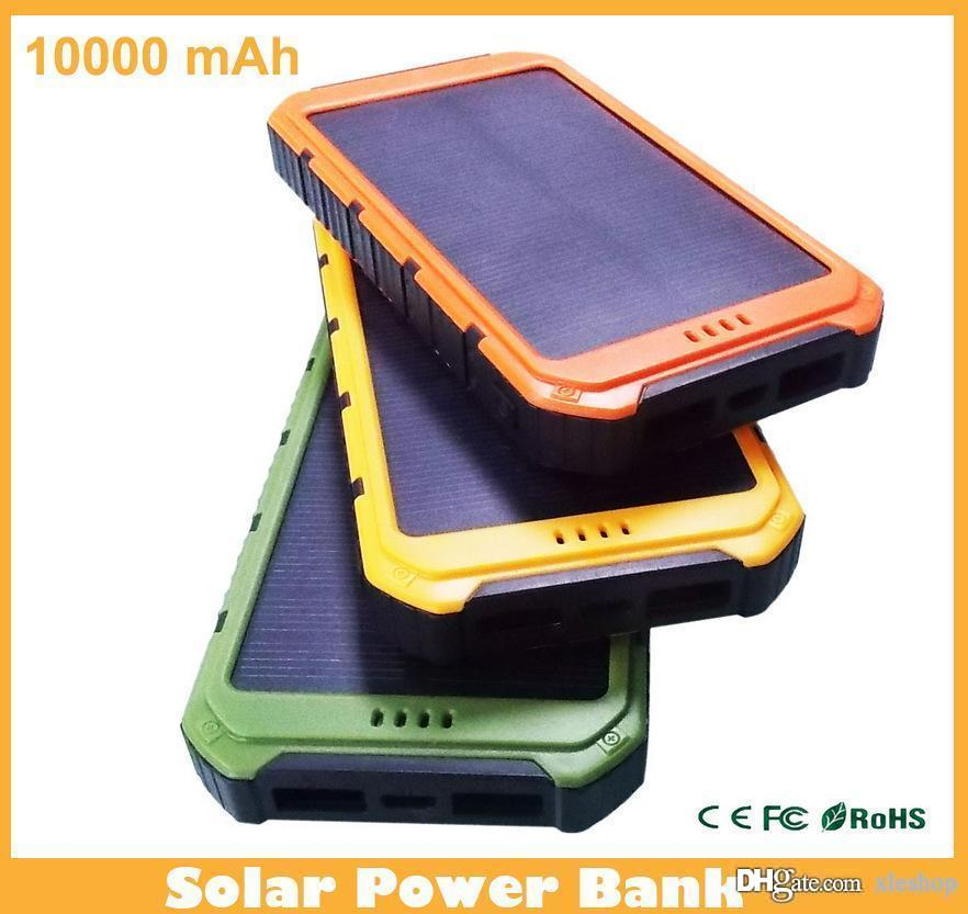 New Style 10000mAh Solar Power Bank Ultra-thin Waterproof Solar Power Banks  2A Output Cell Phone Portable Charger Solar Powerbank