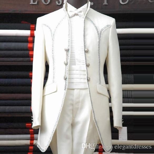 2020 Homem Branco Ternos Xaile Lapela Três Botão Bow Groomsman Smoking Ternos De Casamento Dos Homens Bonito