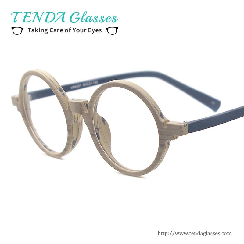 093cd3759ec 2019 Wholesale Acetate Small Spectacles Round Wood Texture Vintage Glasses  Frames For Eyeglass Lenses Myopia Reading Multifocal From Heathere