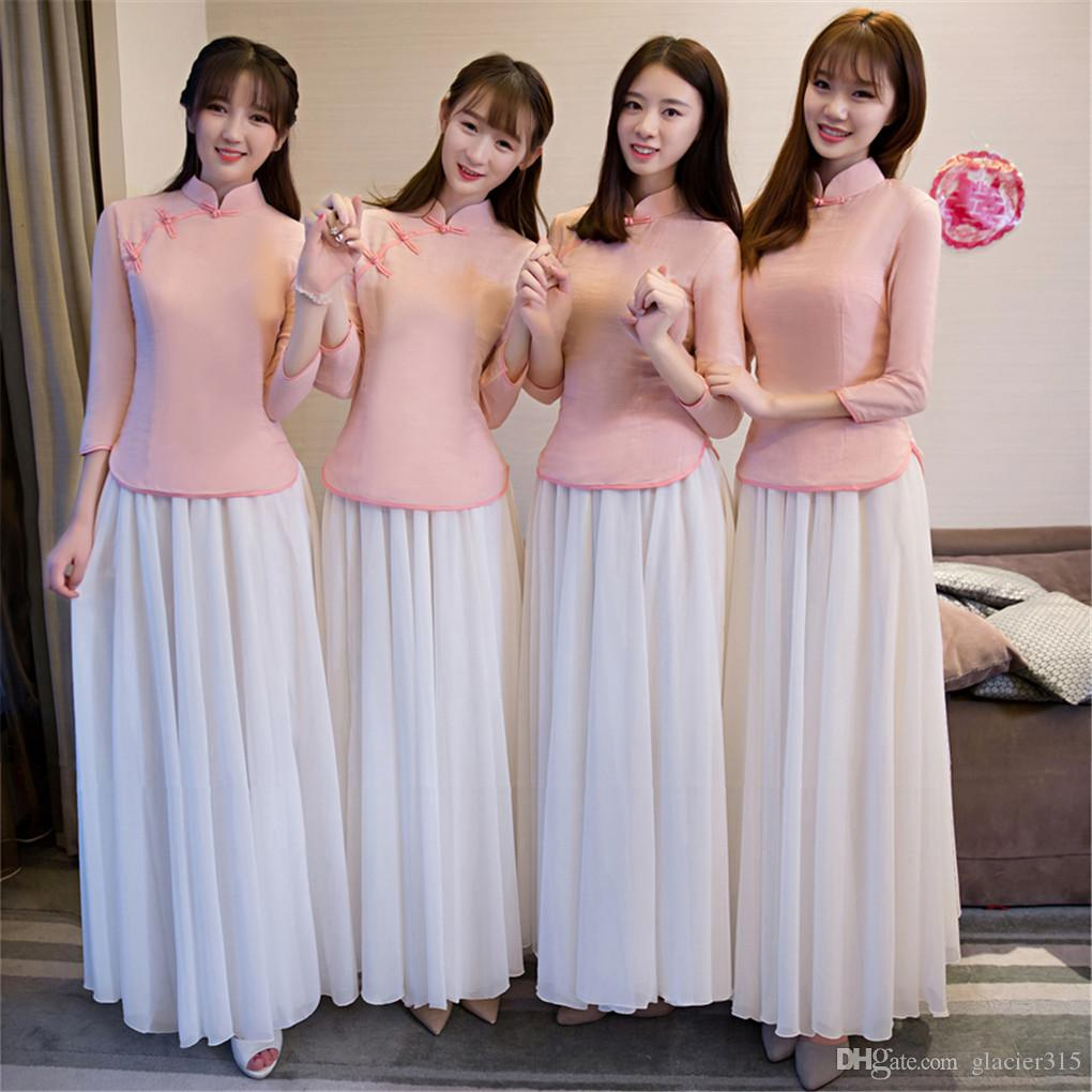 Shanghai Story Chinese Vintage Traditional Clothing Top + Skirt Charming Canton Embroidery Cheongsam Wedding Dress Long Bridal Asian Pink
