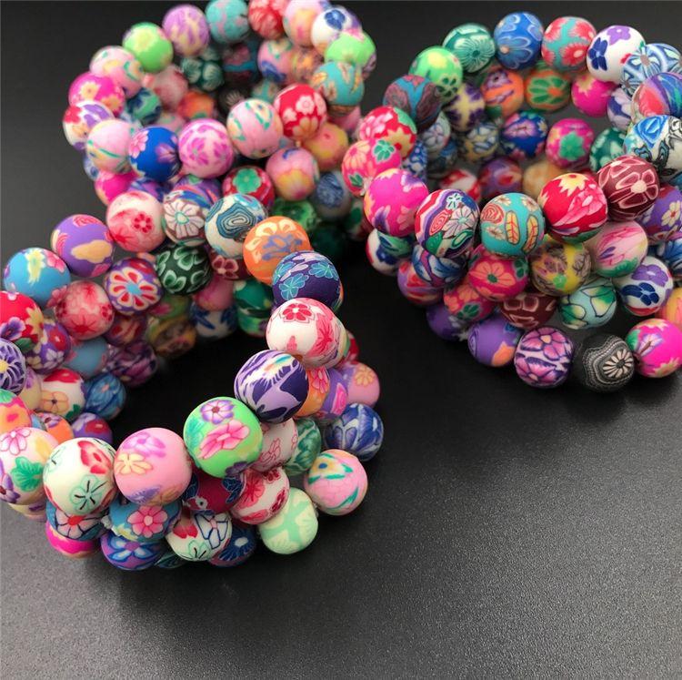 Nouveau 10mm Polymer clay clay perle Mode bracelets en argile polymère Bohemian perlé bracelets, cadeau de l'enfant femmes bijoux C081