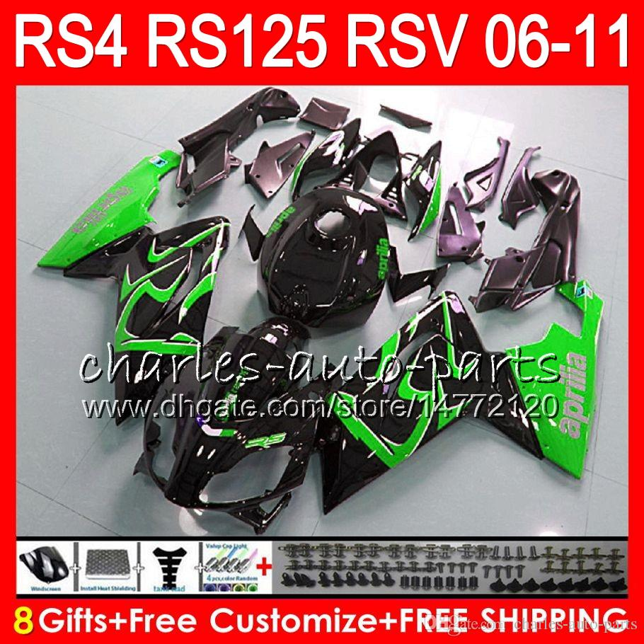 Cuerpo para Aprilia RS4 RSV125 RS125 06 07 08 09 10 11 RS125R RS-125 Verde negro 70NO28 RSV 125 RS 125 2006 2007 2008 2009 2010 2011 Carenado