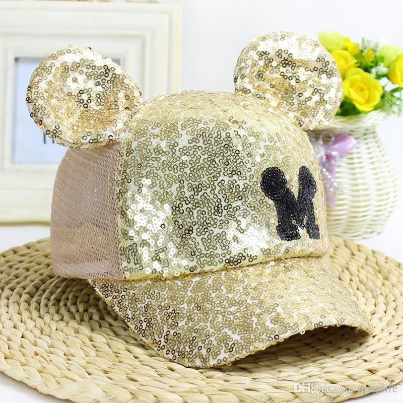 Kids Boys Girl Sequin Mesh Mickey Mouse Baseball Cap Adjustable Trucker Hat Cute