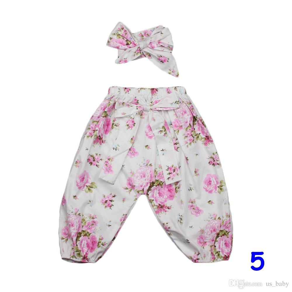 Girls Harem Pants headband set Infant Cotton flower print Clothes Baby Set Flower Pants with Cute Bow Headband Clothing sets