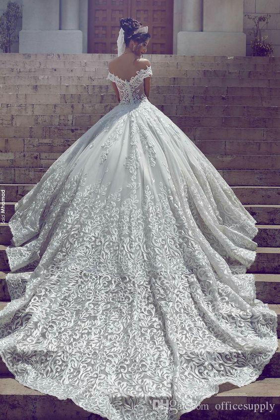 새로운 빈티지 레이스 웨딩 드레스 2019 섹시한 어깨 짧은 소매 Applique Sweep Train Sexy Bridal Gowns 맞춤 제작