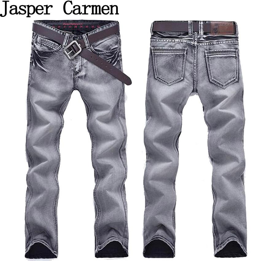 294a683c Wholesale- 2017 new arrival free shipping men's jeans grey color long pants  mid waist slim fit trousers 73