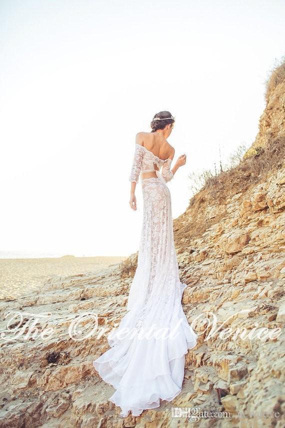 Vestidos De Noiva Boêmio Lace Off the Shoulder Top Crop Keyhole Tie Voltar Praia Boho Vestidos de Casamento 2019 Casamento Robe de casamento