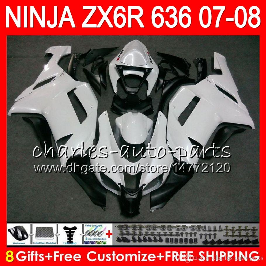8Gifts 23Colors Bodywork For KAWASAKI NINJA ZX636 ZX6R 07 08 600CC 26HM10 ZX 636 ZX 6R 07-08 Pearl White ZX-636 ZX-6R 2007 2008 Fairing kit