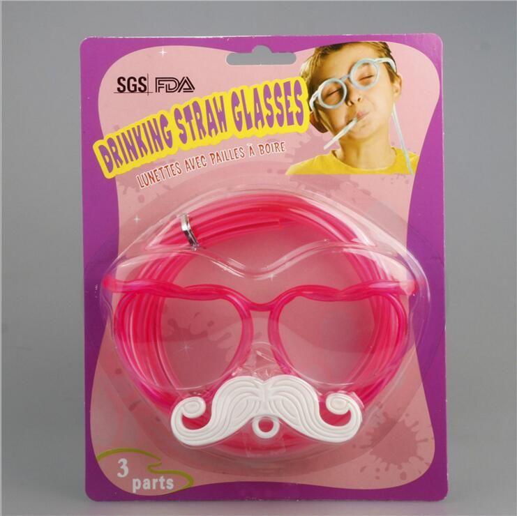 Beard Sunglasses Drinking Straw Funny Kids Colorful Soft Plastic Glasses DIY Straw Unique Flexible Drinking Sunglasses Tube Kids Party Gift