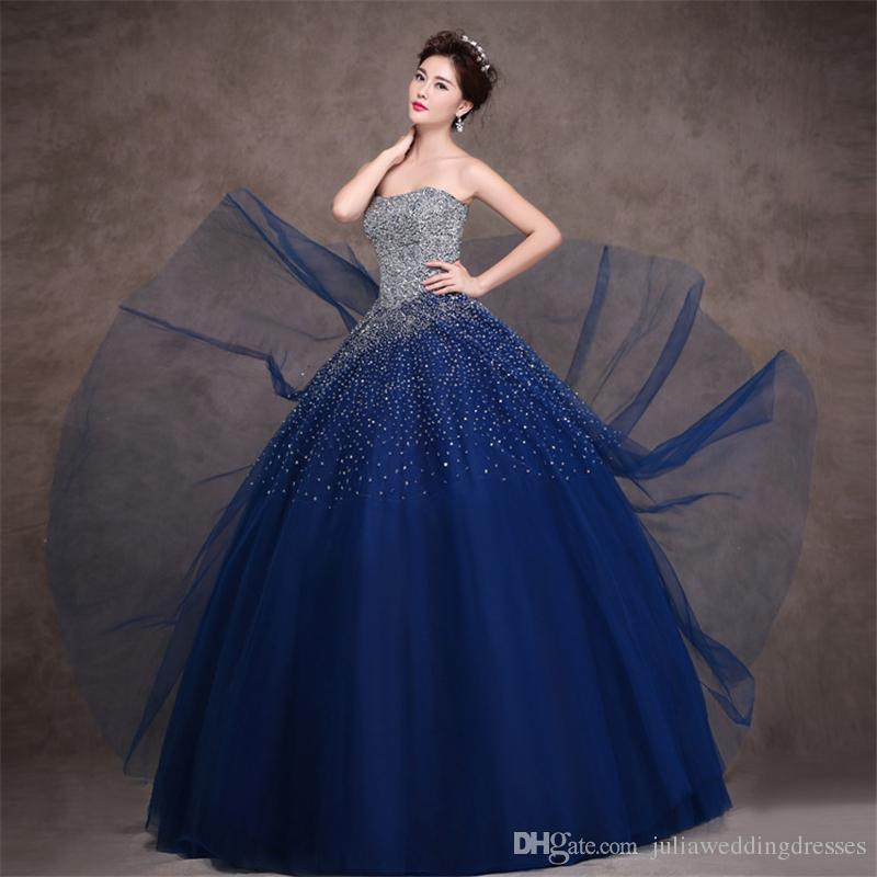 2017 Sweetheart Royal Blue Ball Gown Quinceanera Abiti con cristalli in rilievo Plus Size PROM PROM PROM PROM POGEANT DEBUTTANTE Abito da festa BM63