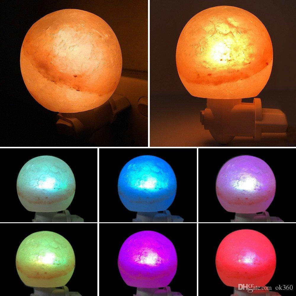 Himalayan Salt Lamp Natural Crystal Salt Rock Light Glow Hand Carved Wall Night Lights with LED Colorfull Bulb for Air Purifying Bedroom