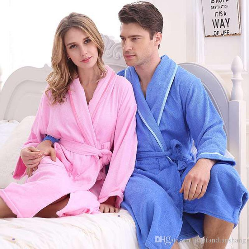 a1aad75b3 2019 Cotton Bathrobe Women Nightgown Men Nightdress For Girls High End  Bathrobes Blanket Towel Fleece Plus Size Thickening Lovers Long Soft From  ...