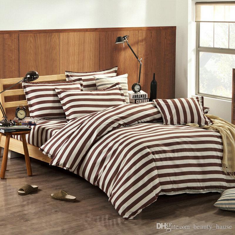 Großhandel Qualität Vintage Streifen Bettwäsche Sets Für Männer
