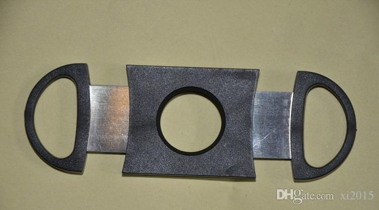 Tasche Kunststoff Edelstahl Doppelklingen Zigarrenschneider Messer Schere Tabak Schwarz New Black Zigarre Schere wa4137