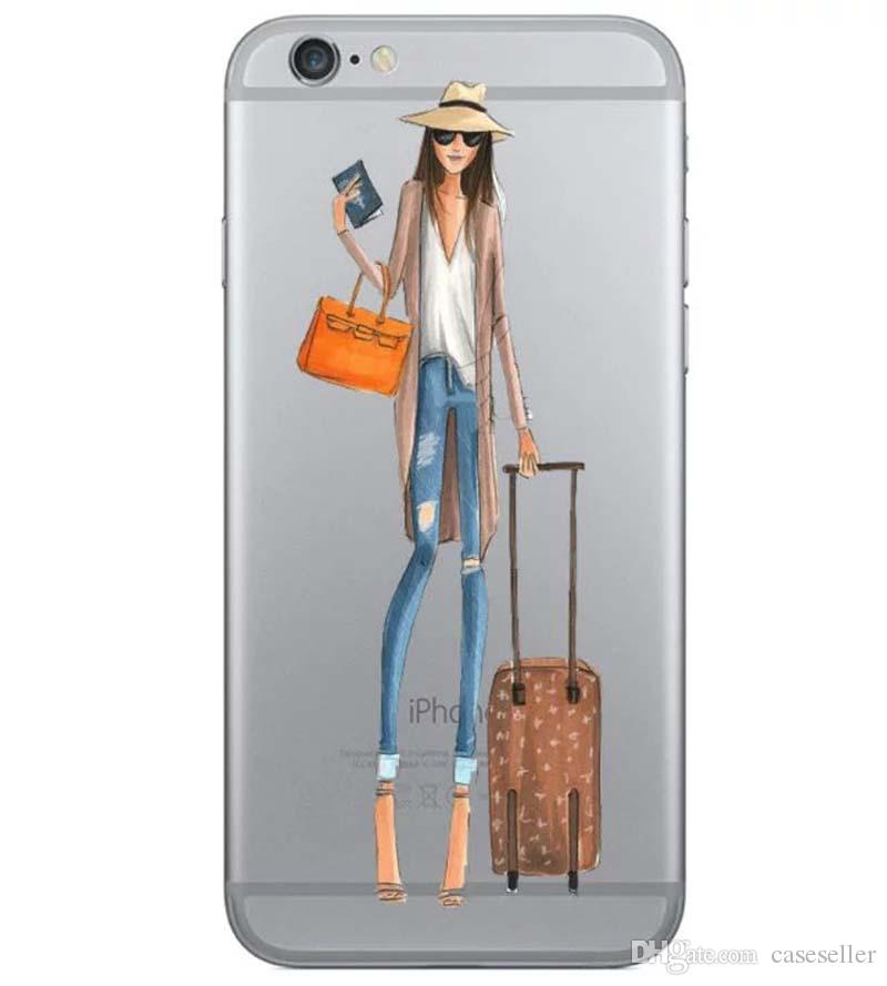 15 Style Fashion Show Beautiful Metropolis Girl Drink Coffee Design Crystal TPU Clear Soft Case Cover for iphone 7 plus 6 plus 5S