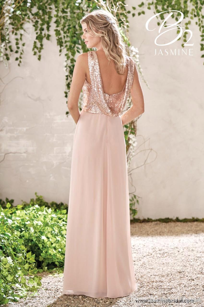 Brillantes de oro rosa con lentejuelas vestidos de dama de 2019 de la gasa larga del A Line Tirantes Volantes Blush Pink dama de honor de los vestidos de boda de los huéspedes