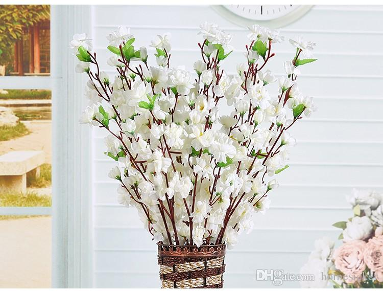 Artificial Cherry Spring Plum Peach Blossom Branch Silk Flower Tree For Wedding Party Decoration white red yellow pink color