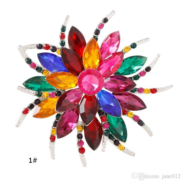 Fashion Trendy Blooming flowers Lines Multicolor Bridesmaid Wedding Party Brooch Pin for Coats Crystal Women Corsages Clothing Accessories