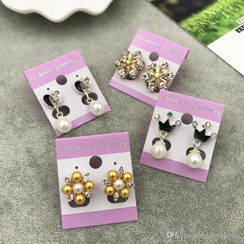 جديد أفضل الماس إسقاط أقراط الزفاف تاج الأميرة استرخى الفضة الذهب لؤلؤة أوبال العصرية الأسود أقراط عيد الحب هدية مجانية DHL