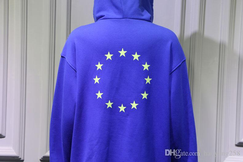 2017 Vetements Hoodie Antwerpen Hoodies USA Gedruckt Nähte Übergröße Sweatshirts Hip Hop Frauen Streetwear Hoodies Blau