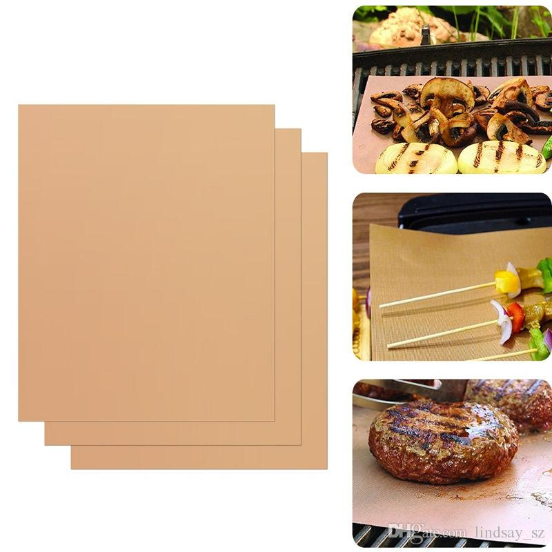 Teflon BBQ Grill Mat for Barbecue Grill Sheet 40*33cm Cooking Baking and Microwave oven PTFE Coated Fiberglass Fabric Reusable Easy Clear
