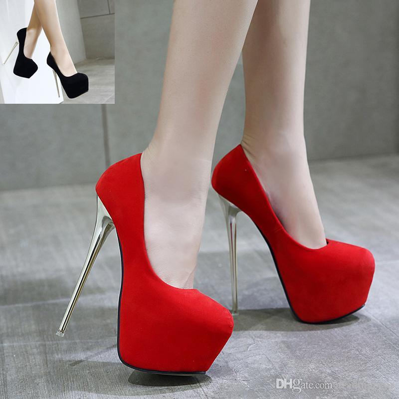 0db12e89d681da 16cm Ultra High Heels Plattform Stiletto Fersen rote Hochzeit Schuhe Teil  Club Veranstaltungen 2 Farben Größe 34 bis 40