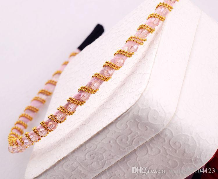 fashion women crystal Headbands Jewelry candy colored hair bands colorful irregular crystal gold cord around hoop hair ornaments hairpin