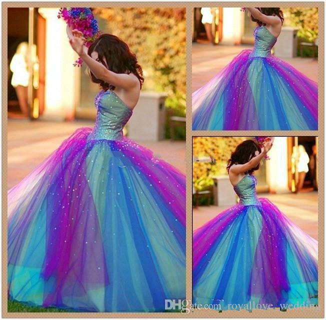 Regenbogen Tüll Multi Farbe Prom Kleider 2017 Freies Verschiffen Billig Liebsten Perlen Korsett Ballkleid Dance Homecoming Junge Mädchen Kleider Verkauf