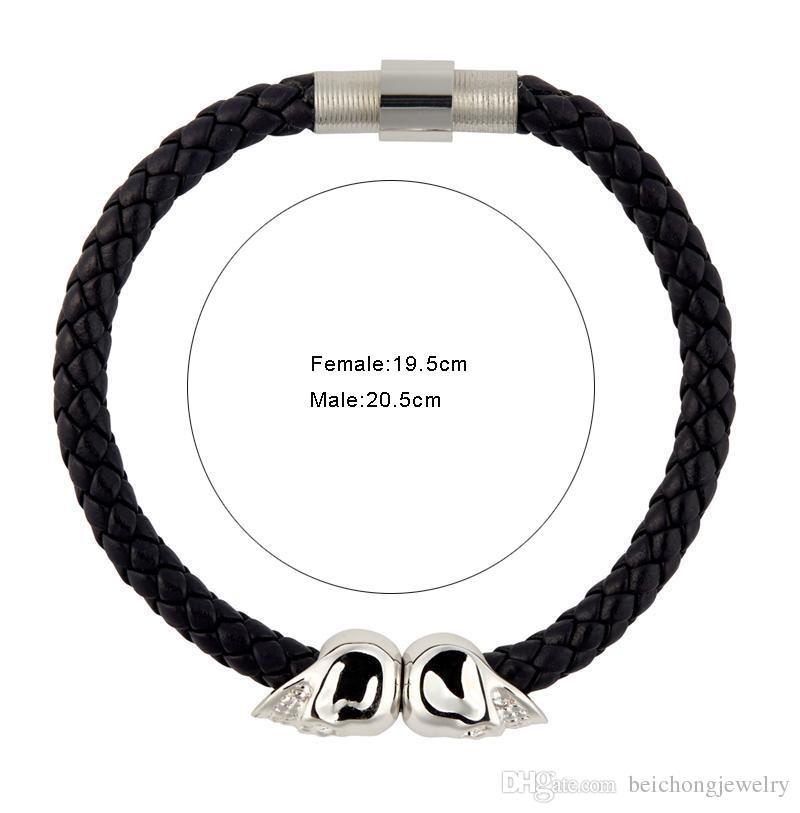 Beichong Mens Black Genuine Leather Braided Northskull Bracelet Men Stainless Steel For Women Gold North skull Bangle for women men