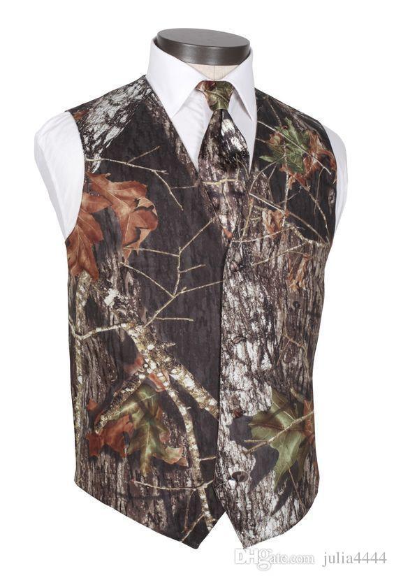 Camo noivo coletes v pescoço homens do casamento do país Outerwear colete camuflagem slim fit homens coletes colete + gravata feitos sob encomenda pai e filho