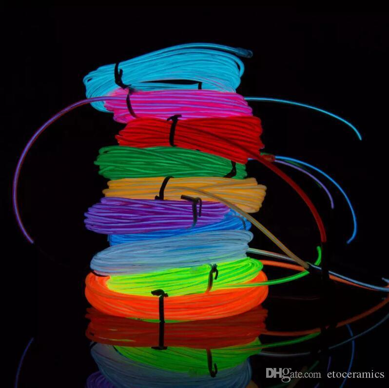 3M Neon Light Gloed El Wire Touw Tube Auto Bike Bar Dance Party Transparent