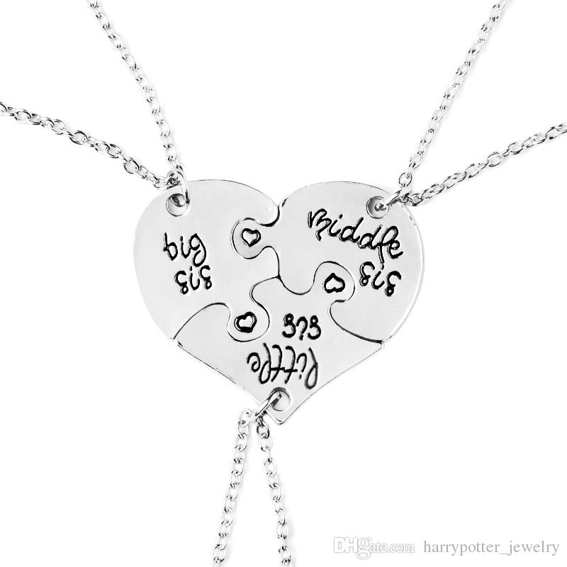 heart personalized hand stamped big sis middle sis little sis 3 sister necklace family jewelry sisters gift drop shipping 162116 letter necklace family