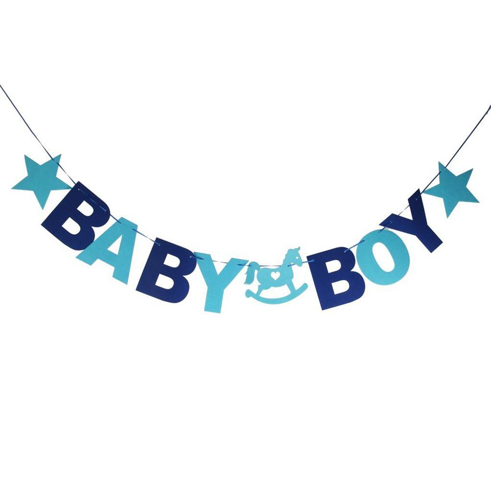 2017 Wholesale Baby Boy Felt Garland Bunting Banner Baby Shower ...