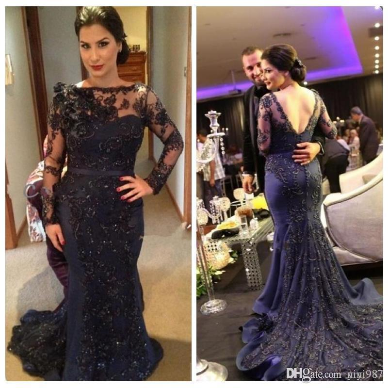 3f4fdc0bde76 Zuhair Murad Dark Navy Blue Mermaid Evening Gowns Long Sleeves Prom Formal Party  Dresses Evening Wear Arabic Backless Beaded Evening Gowns Black Prom ...