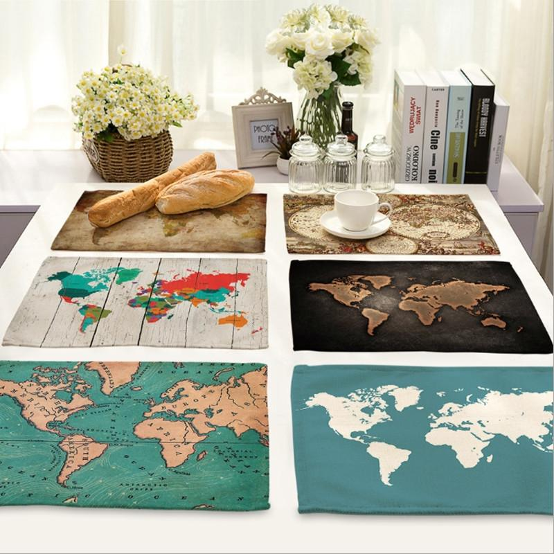2018 wholesale world map cotton fabric placemat home decor drawing 2018 wholesale world map cotton fabric placemat home decor drawing cup mat dishware coasters for kitchen accessories wedding party decoration from carmlin gumiabroncs Images