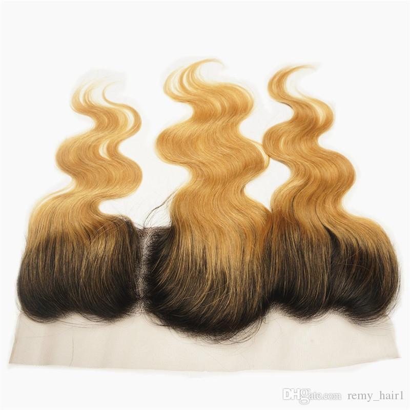 İki Ton 1B / 27 Bal Sarışın Ombre Bradenlian İnsan Saç Atkı Frontal Koyu Kökleri Ile Çilek Sarışın Ombre 13x4 Dantel Frontal Ile 3 Demetleri