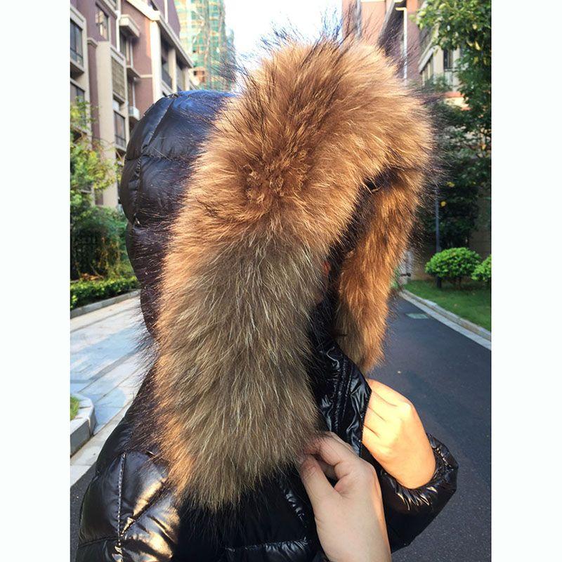 Новая мода Женская зимняя Утолщение теплая с капюшоном большой меховой воротник Тонкий пуховик пальто верхней одежды