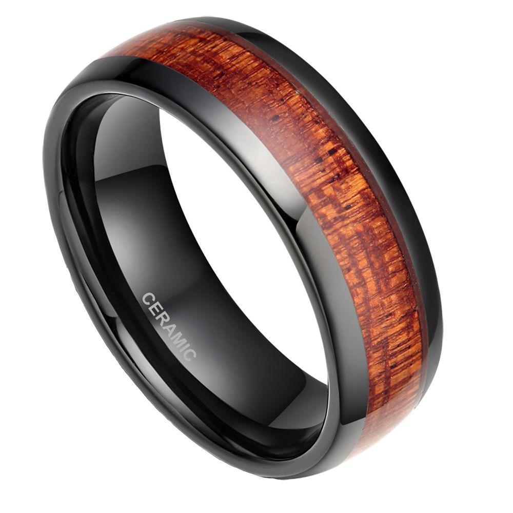 Black Ceramic Ring 8mm Men\'S Black Ceramic Ring Wood Inlay Polished ...