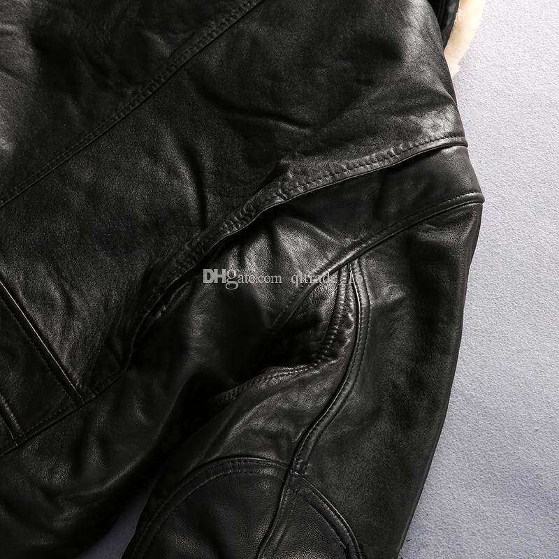 2018 blousons en cuir véritable noir Avirex fly avec manteau en fourrure d'agneau, blouson aviateur en peau de mouton en cuir véritable