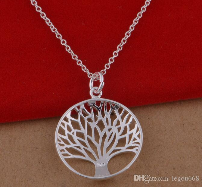 Item 925 Fashion Most Popular Hot Silver Plated Tree Of Life Pendant Necklace 18inch Wholesale Price