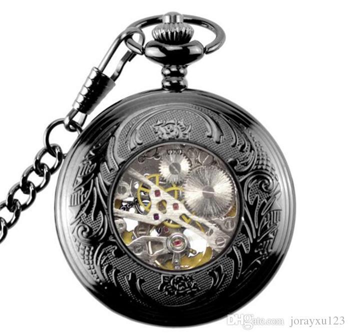 50 adet Siyah Çiçek Hollow Kılıf Mavi Roman Numarası İskelet Dial Steampunk Mekanik Pocket Watch Zincir Hediye Ile Erkekler Kadınlar Için J010